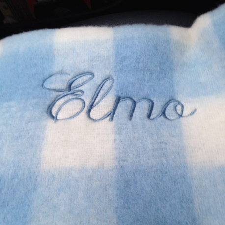 Carmen Cuervo Manta Mohair Cuadros Azul Blanco