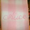Manta cuadros rosa personalizada