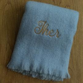Manta lisa azul personalizada